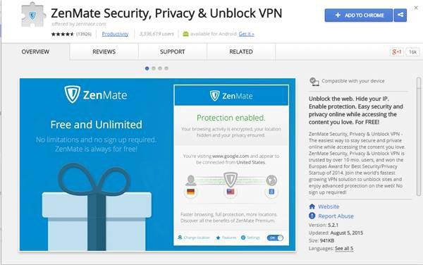 VPN Google Chrome с помощью ZenMate