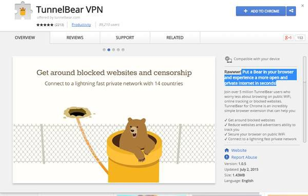 Плагин для обхода блокировки сайтов TunnelBear VPN