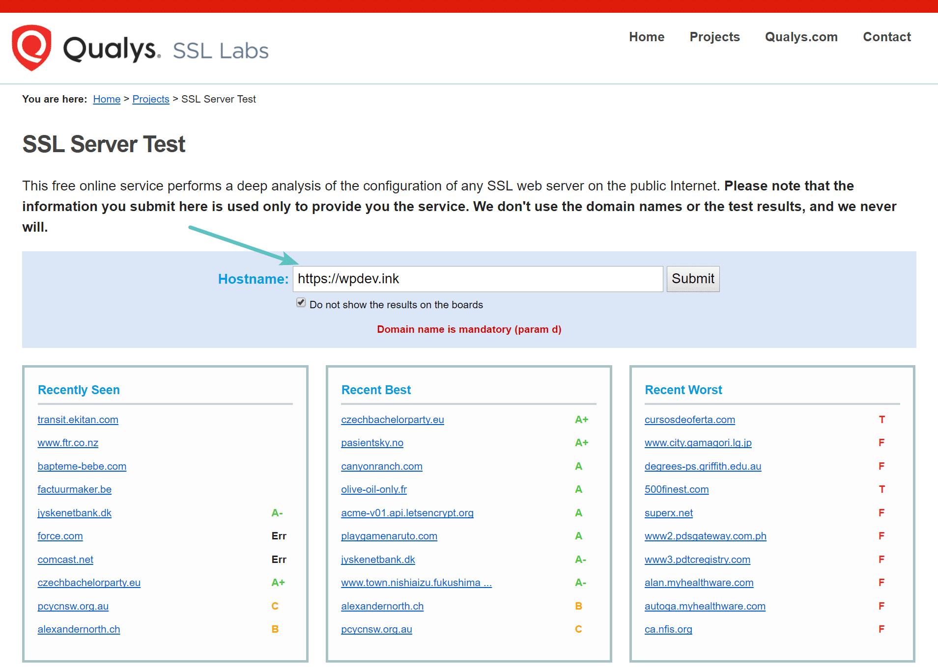Проверьте свой SSL-сертификат