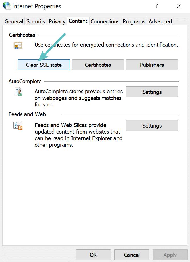 Попробуйте очистить состояние SSL на компьютере