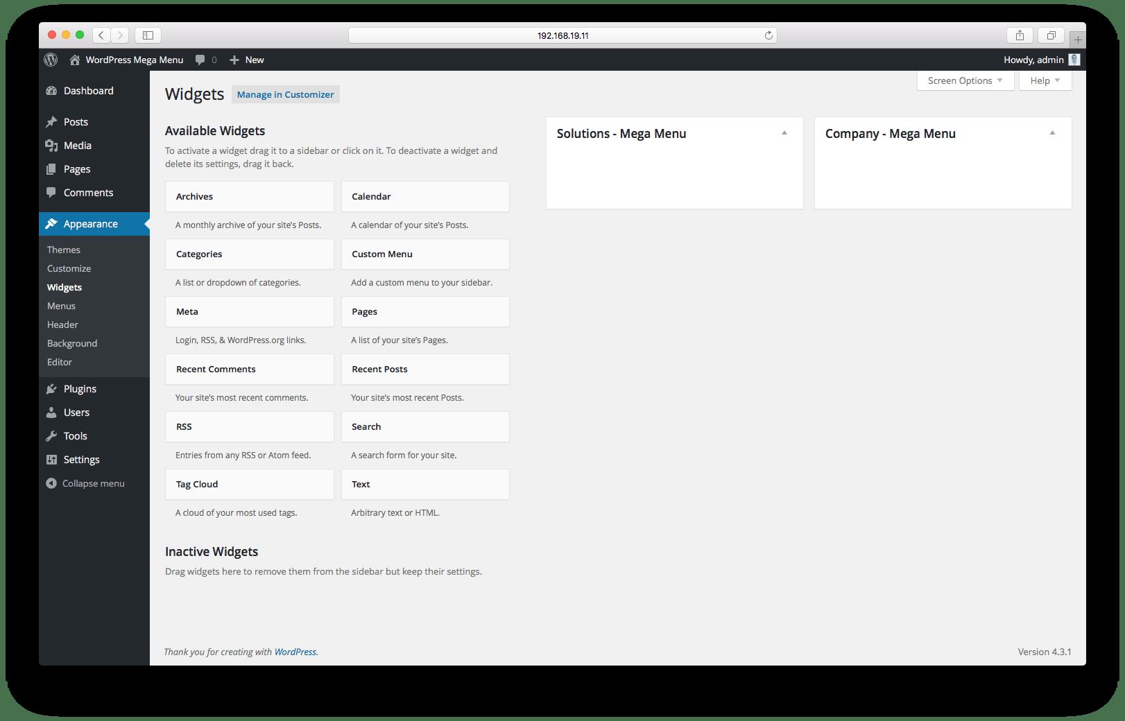 Динамическая регистрация боковой панели (области виджетов)