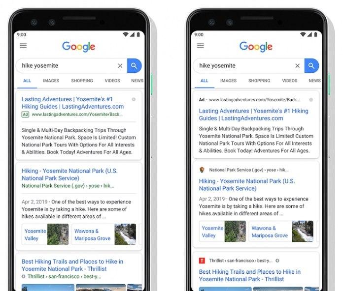 Новый дизайн мобильной поисковой выдачи Google