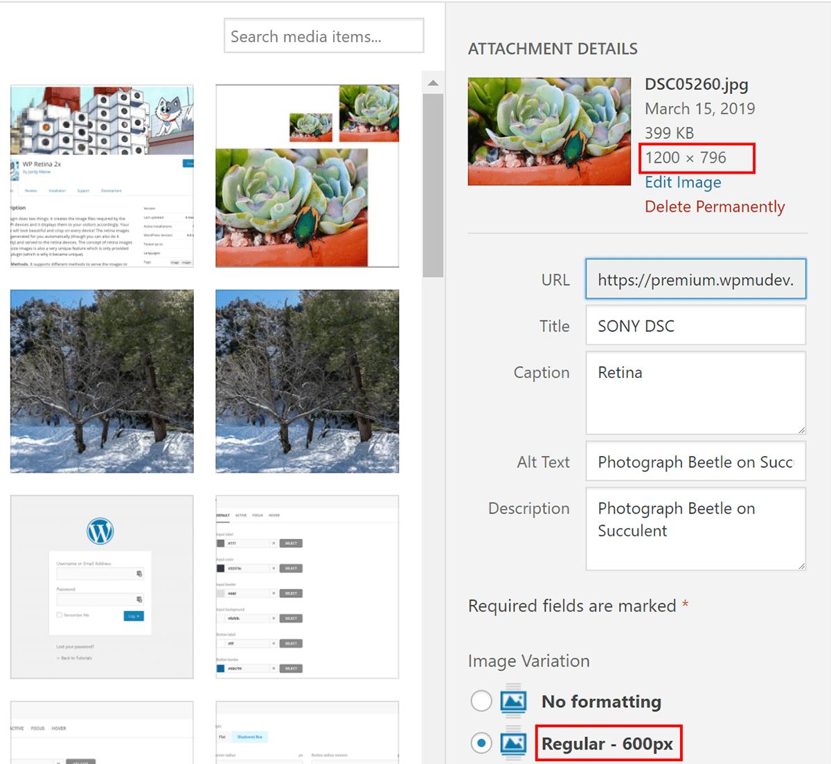 Шаг 3: Загрузите Retina-изображения в WordPress и используйте их на своем сайте