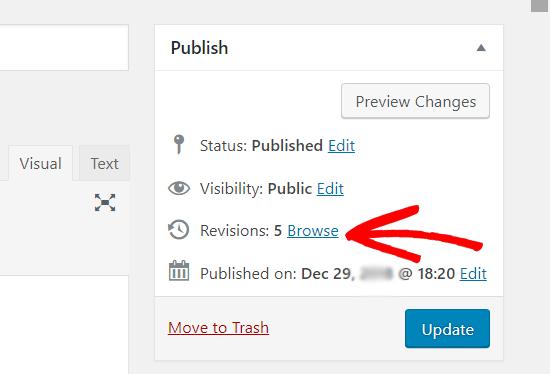 Использование ревизий записей в классическом редакторе WordPress