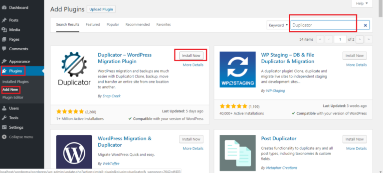 Шаг 1: Установите и настройте плагин Duplicator на локальном WordPress -сайте