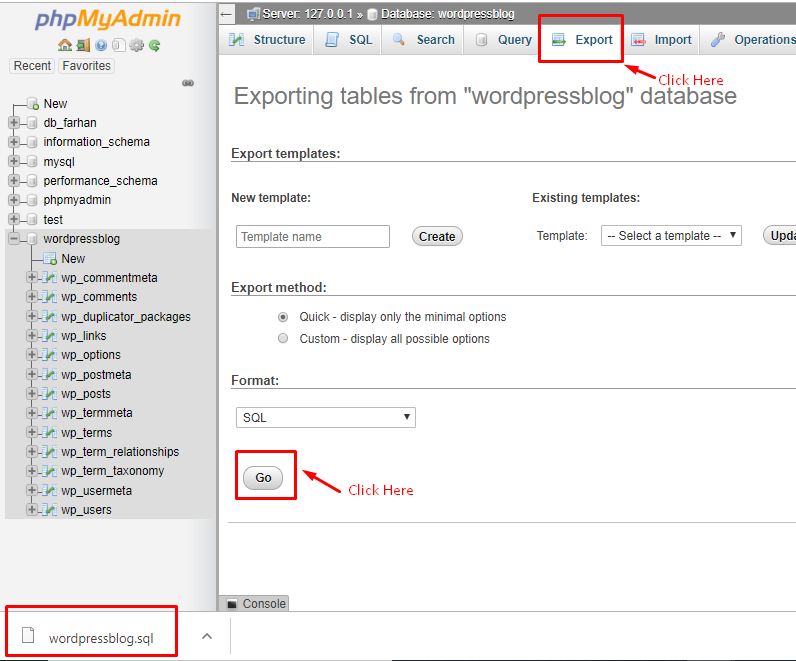 Шаг 1: Экспорт локальной базы данных WordPress