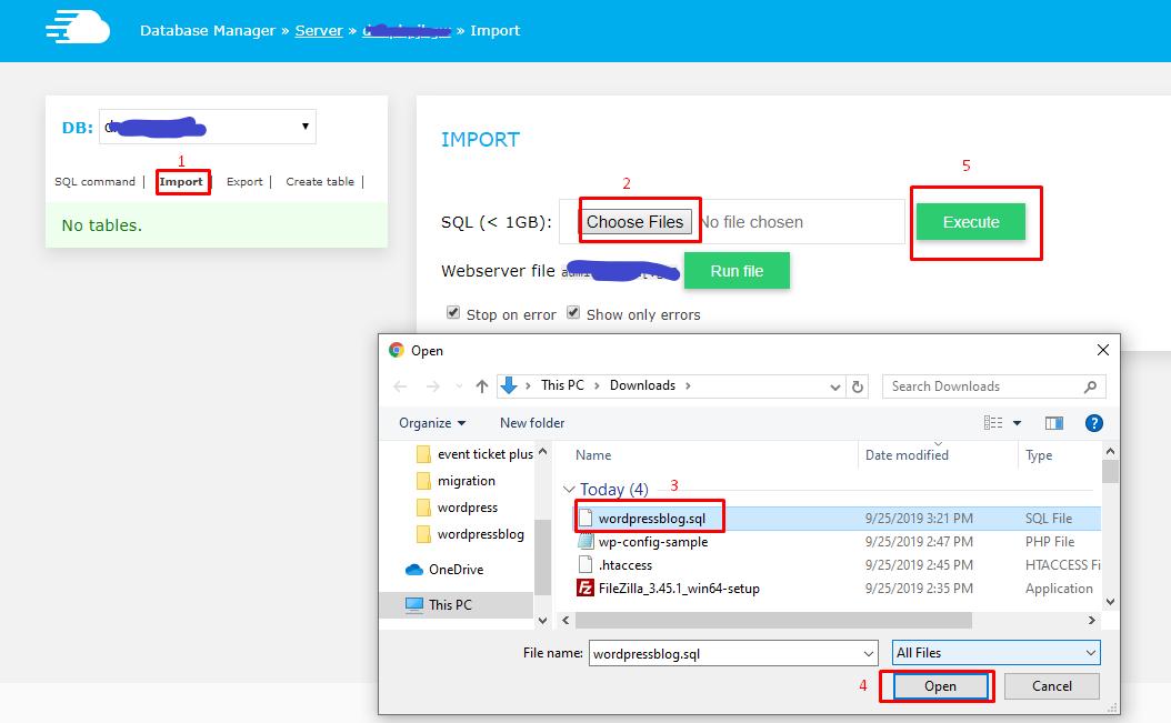 Шаг 3: Импортируйте локальную базу данных WordPress на действующий сервер