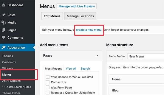 Шаг 1. Создание меню навигации в WordPress