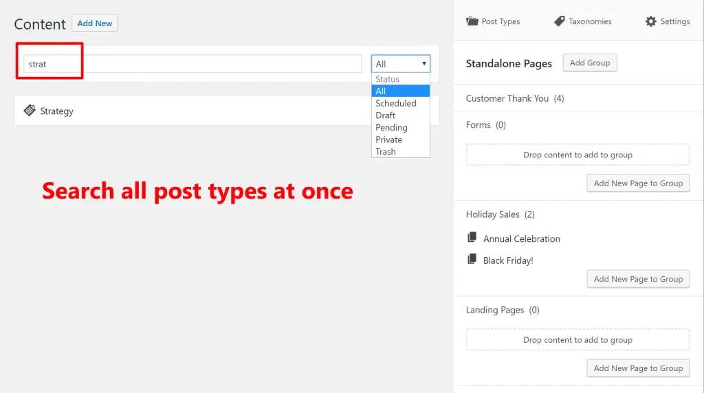 Унифицирование поиска и создания контента