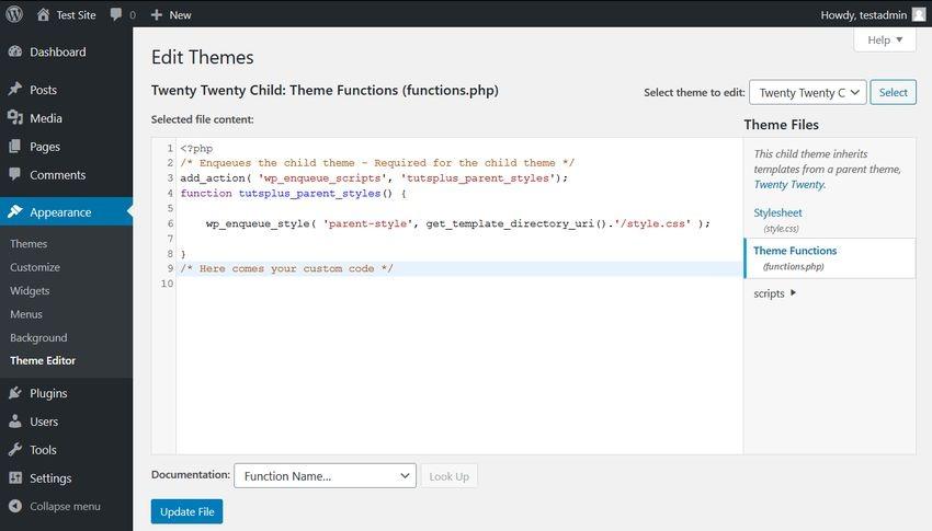 2. Редактирование файла functions.php дочерней темы оформления