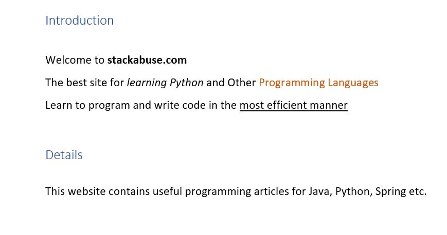 Чтение файлов MS Word с помощью модуля Python-Docx
