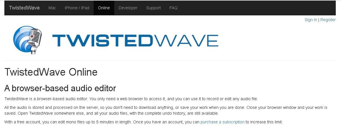 Аудио редактор TwistedWave