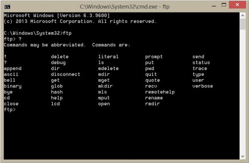 Команды FTP для командной строки Windows