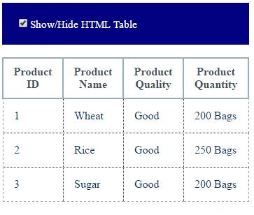 jQuery-checkbox-table